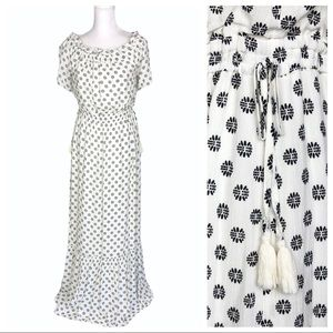 1. State white black OTS ruffle maxi dress